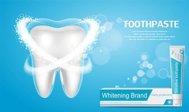 Annuncio dentifricio sbiancante. grande dente sano su sfondo blu. Vettore Premium
