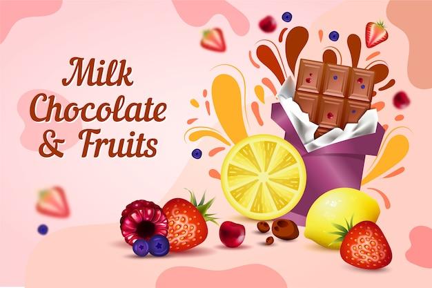 Annuncio di cibo al cioccolato al latte e frutta Vettore gratuito