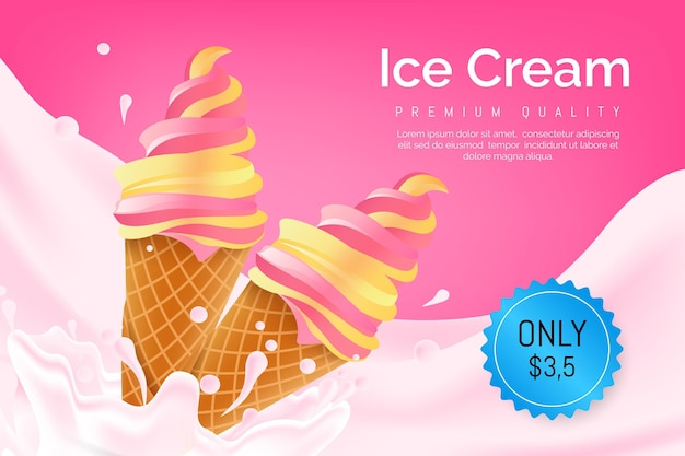 Annuncio di gelato Vettore gratuito