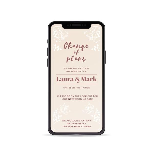 Annuncio di matrimonio posticipato con smartphone Vettore gratuito