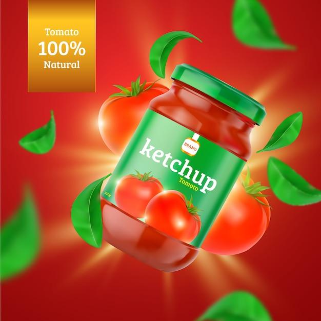Annuncio di prodotti alimentari ketchup biologici Vettore gratuito