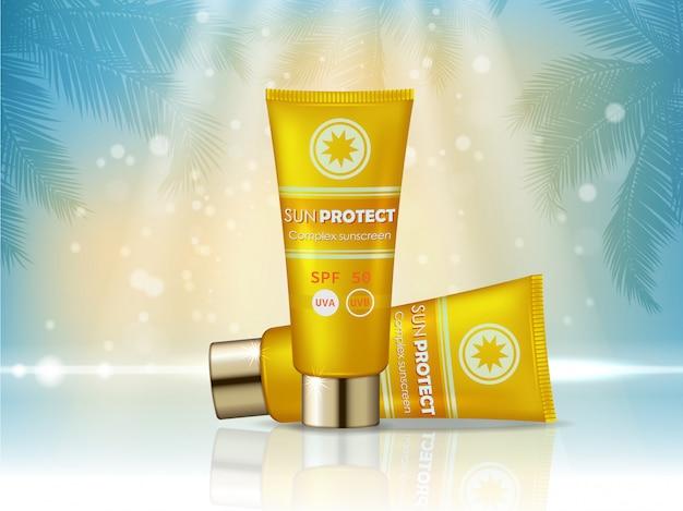 Annuncio di prodotti cosmetici sunblock. bottiglia per crema solare, design per prodotti cosmetici di protezione solare. Vettore Premium