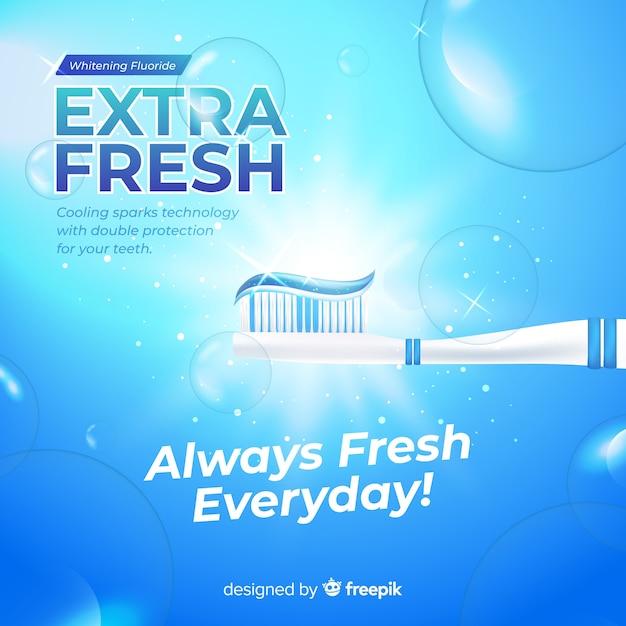 Annuncio realistico di dentifricio fresco Vettore gratuito