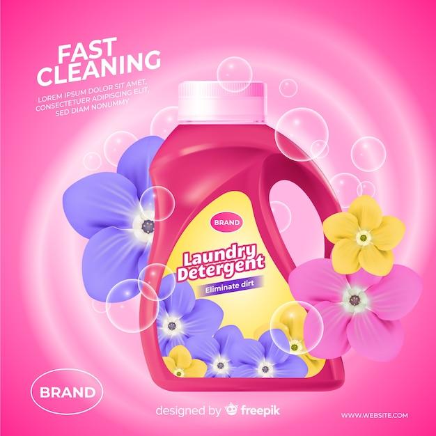 Annuncio realistico di detersivo per lavatrice Vettore gratuito