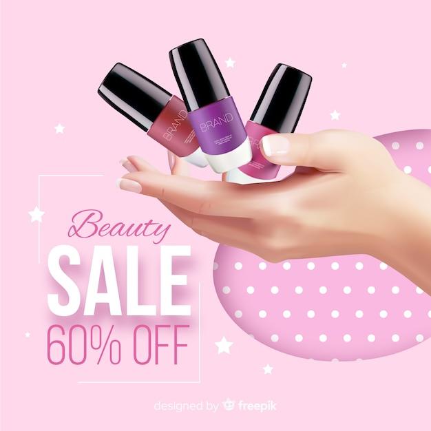 Annuncio realistico di lavanderia cosmetici vendita Vettore gratuito