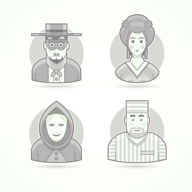 Anonimo, uomo maschera, geisha, prigioniero. set di illustrazioni di personaggi, avatar e persone. stile delineato in bianco e nero. Vettore Premium