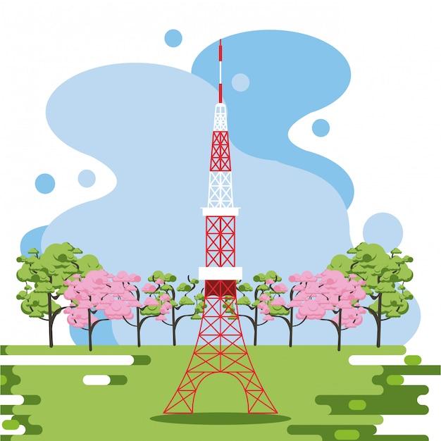 Antenna di telecomunicazione in natura Vettore Premium