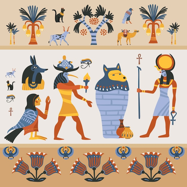 Antica illustrazione egizia Vettore gratuito