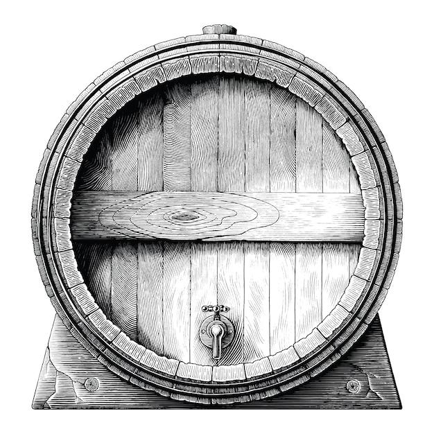 Antica illustrazione incisione della botte di rovere disegno a mano clipart in bianco e nero isolato, botte di fermentazione alcolica Vettore Premium