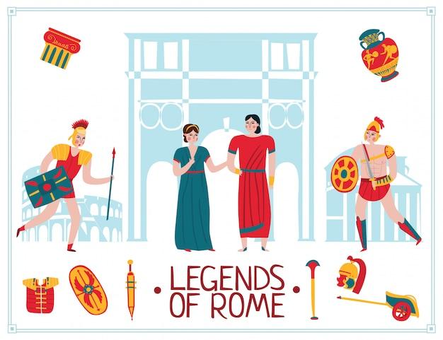 Antica roma impero illustrazione Vettore gratuito