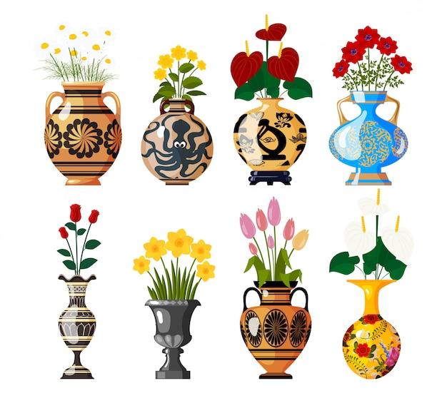 Antiche antiche anfore con fiori che sbocciano Vettore Premium
