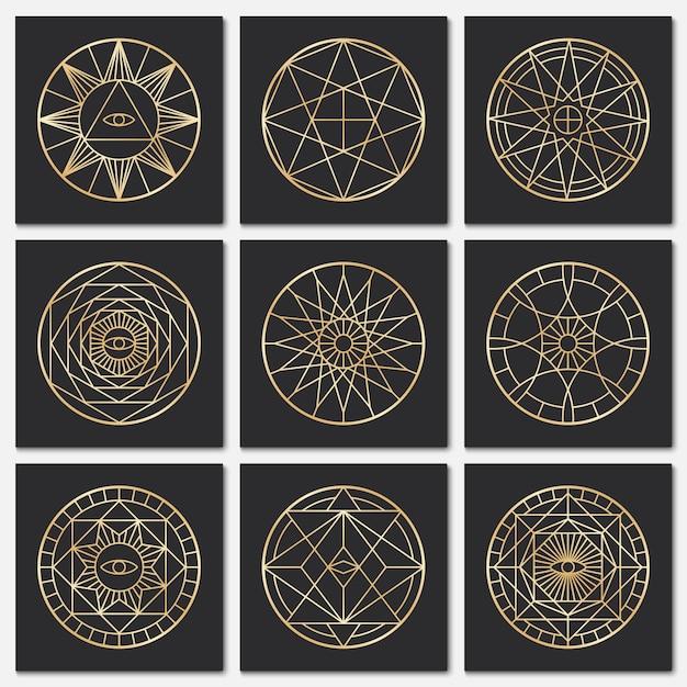 Antichi pentagrammi massonici simboli sacri dell'oro di steampunk su sfondi scuri Vettore Premium