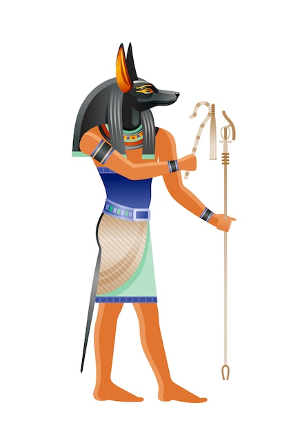 Antico dio egizio anubi. divinità con testa di cane. illustrazione del fumetto nel vecchio stile di arte. Vettore Premium