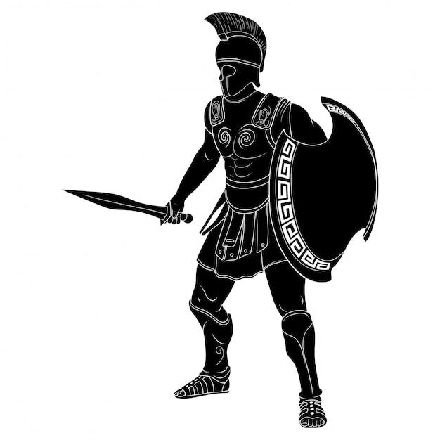 Antico guerriero greco in armatura e un elmo con un'arma in mano è pronto per l'attacco e la difesa Vettore Premium