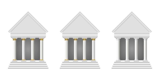Antico tempio isolato Vettore Premium