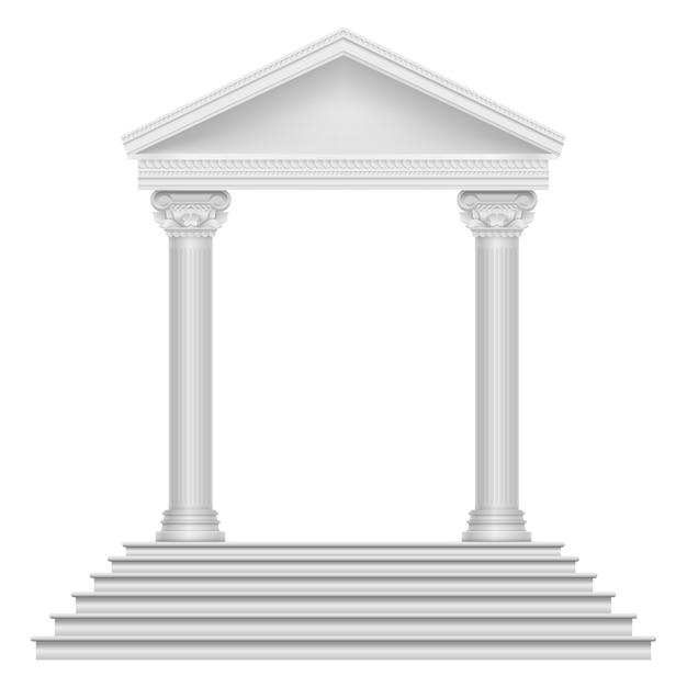Antico tempio romano con gradini e colonne. Vettore Premium