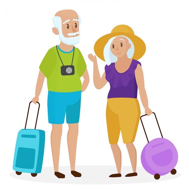 Anziani anziani turisti con valigie Vettore Premium