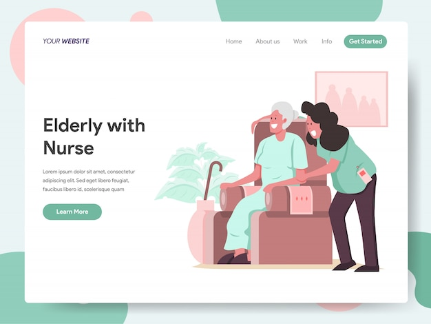 Anziani con caregiver o banner infermiera per landing page Vettore Premium