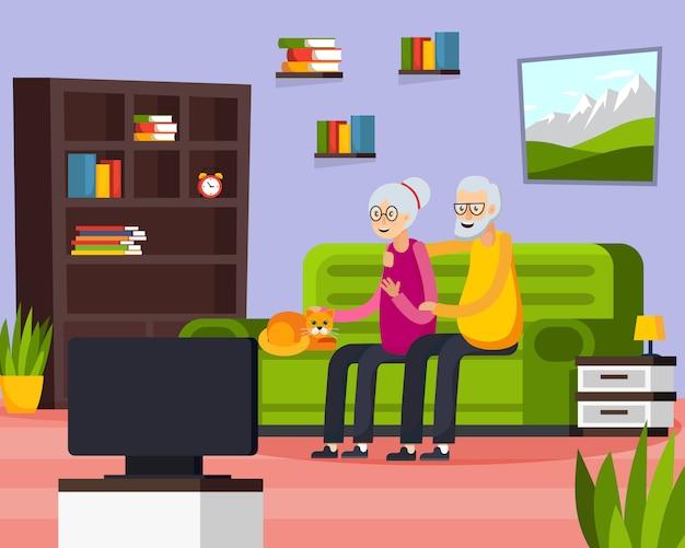 Anziani in appartamento di composizione Vettore gratuito