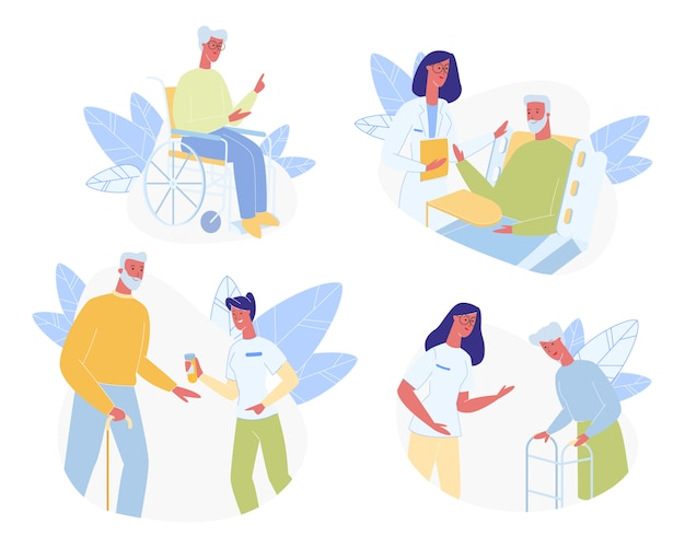 Anziani nell'insieme della casa di cura. aiuto medico Vettore Premium