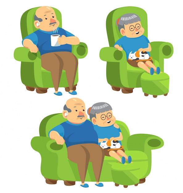 Anziani seduti sul divano Vettore Premium