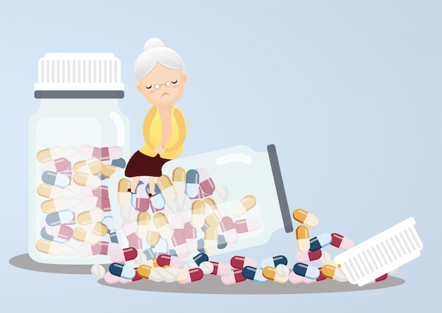 Anziano con bottiglie di pillola. Vettore Premium