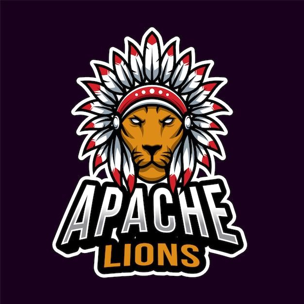 Apache head esport logo template Vettore Premium