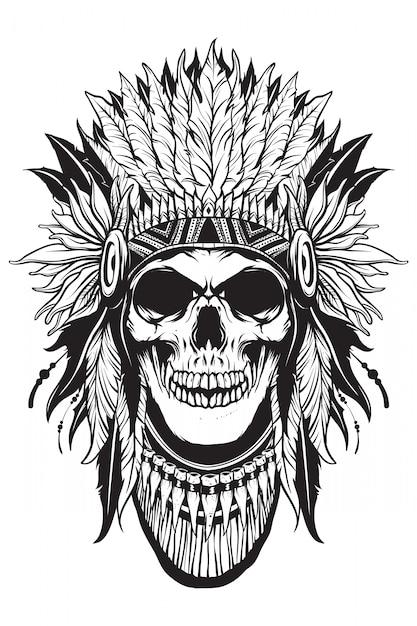 Apache skull thief con forma di contorno Vettore Premium