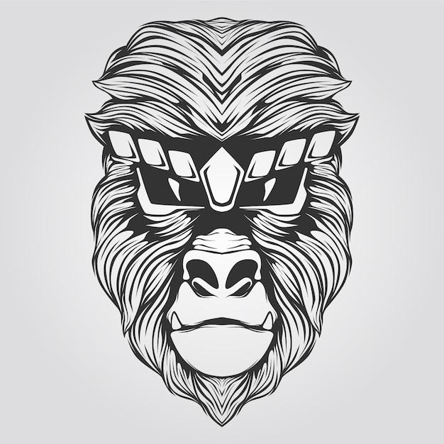 Ape art line art in bianco e nero Vettore Premium