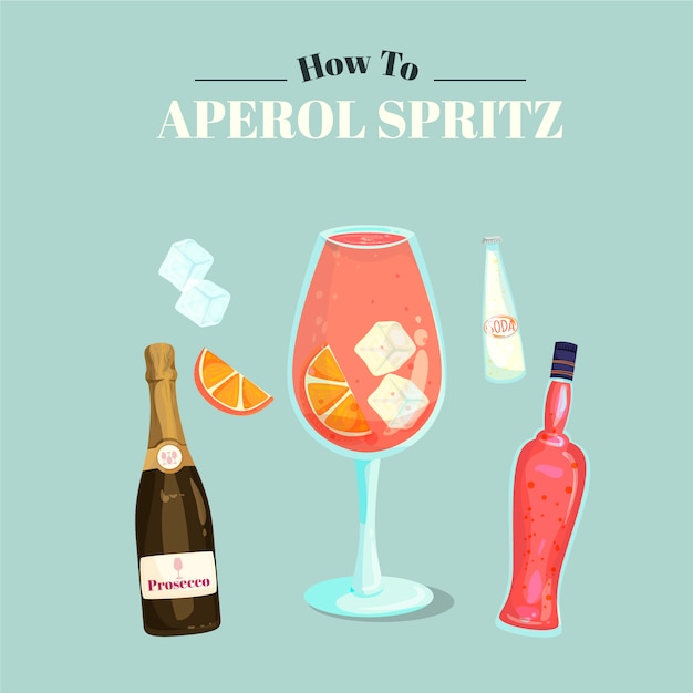 Aperol spritz ricetta cocktail Vettore gratuito