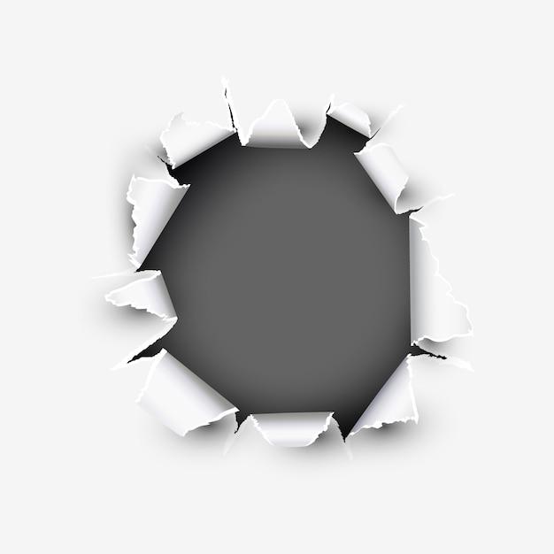 Apertura rotonda che mostra spazio in carta strappata Vettore Premium