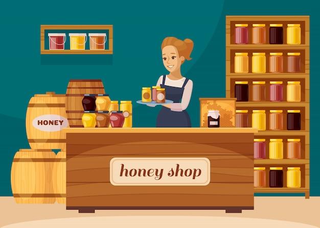 Apicoltore apicoltore honey shop cartoon Vettore gratuito