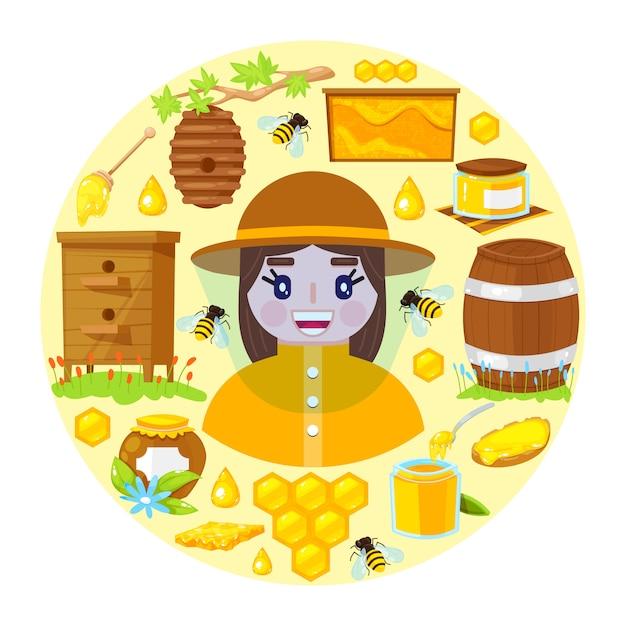 Apicoltore e oggetti di apicoltura Vettore Premium