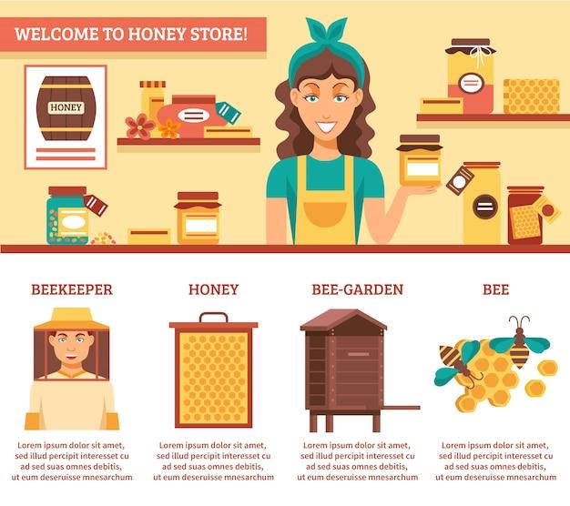 Apicoltura miele infografica Vettore gratuito
