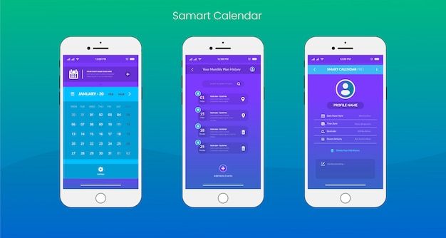 App calendario intelligente ui / ux design Vettore Premium