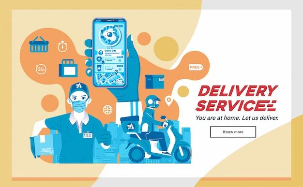 App consegna cibo, consegna cibo ordine, invio tramite corriere e uomo come illustrazione mascotte società di consegna Vettore Premium