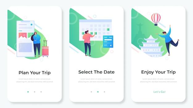 App del sito web di viaggio Vettore Premium