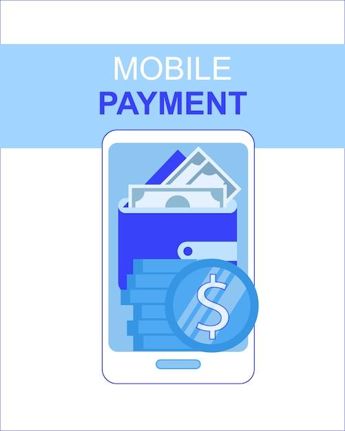 App di pagamento del telefono cellulare con l'illustrazione di vettore dello schermo del portafoglio dei soldi Vettore gratuito