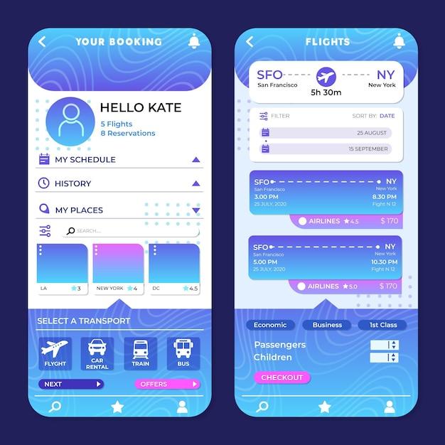 App di prenotazione viaggi Vettore gratuito