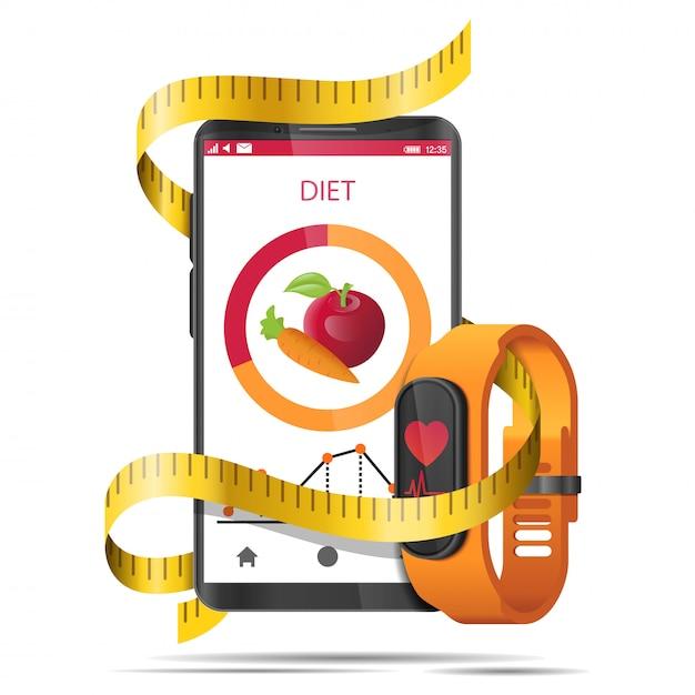 App dieta concetto con nastro di misura, smartphone e orologio fitness realistico Vettore Premium