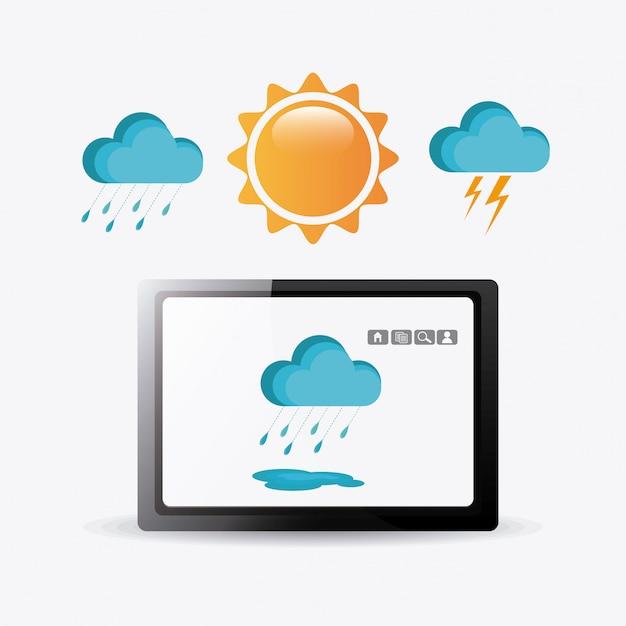 App mobile meteo. Vettore Premium