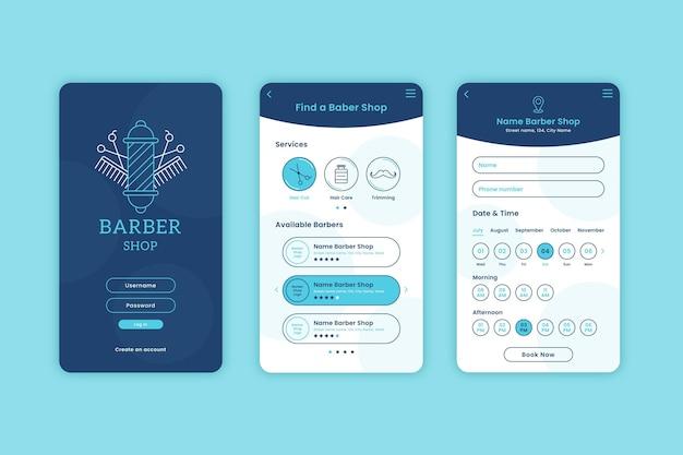 App per la prenotazione di un barbiere Vettore gratuito
