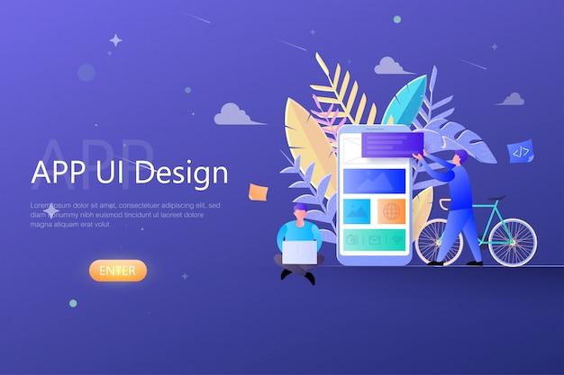 App ux design concept ui, team di progettisti che lavorano allo sviluppo di app per dispositivi mobili, creazione di app per modello di pagina di destinazione web Vettore Premium