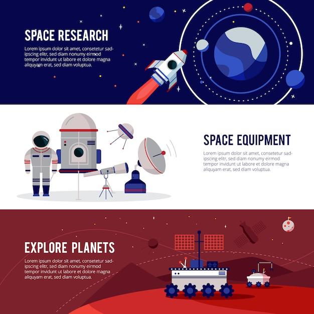Apparecchiature per la ricerca spaziale per pianeti e stelle Vettore gratuito