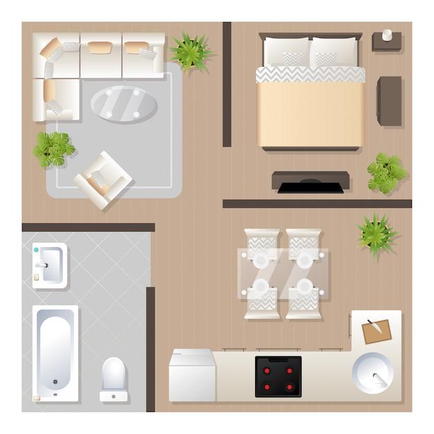 Appartamento design con vista dall'alto di mobili, piano architettonico, cucina, bagno, camera da letto e soggiorno. Vettore Premium