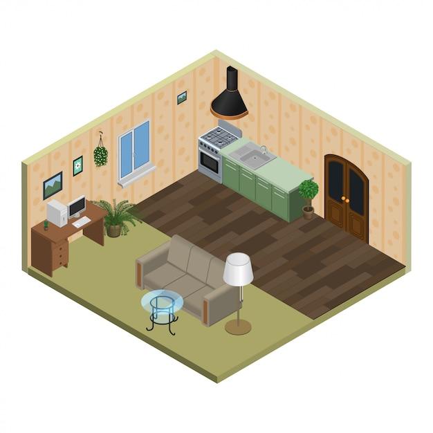 Appartamento isometrico Vettore Premium