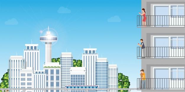 Appartamento moderno in skycrapers urbano di paesaggio urbano con il tramonto di peoplein di riposo Vettore Premium