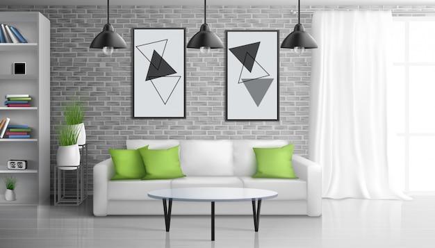 Appartamento soggiorno, salone aperto ufficio interni realistico con tavolino vicino divano, dipinti su muro di mattoni, scaffali, appeso al soffitto lampade vintage illustrazione Vettore gratuito