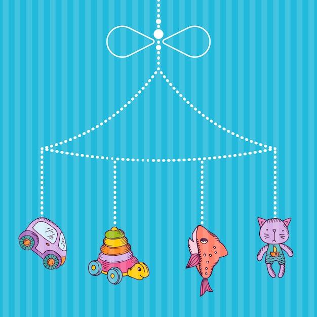 Appesi giocattoli per bambini disegnati a mano su bacgkround stripy blu Vettore Premium