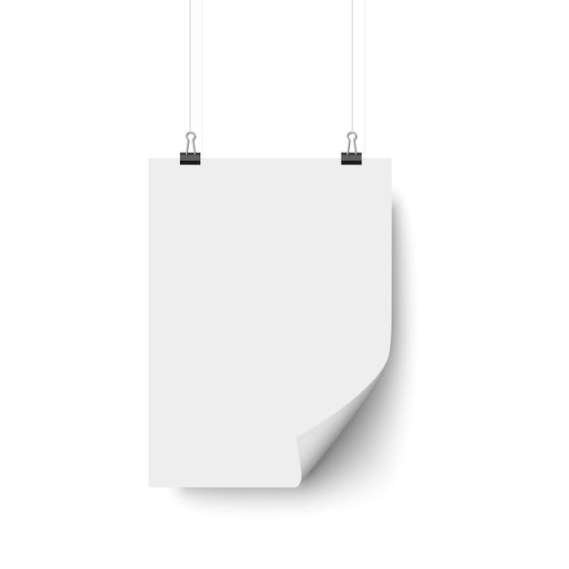 Appeso poster bianco bianco Vettore Premium